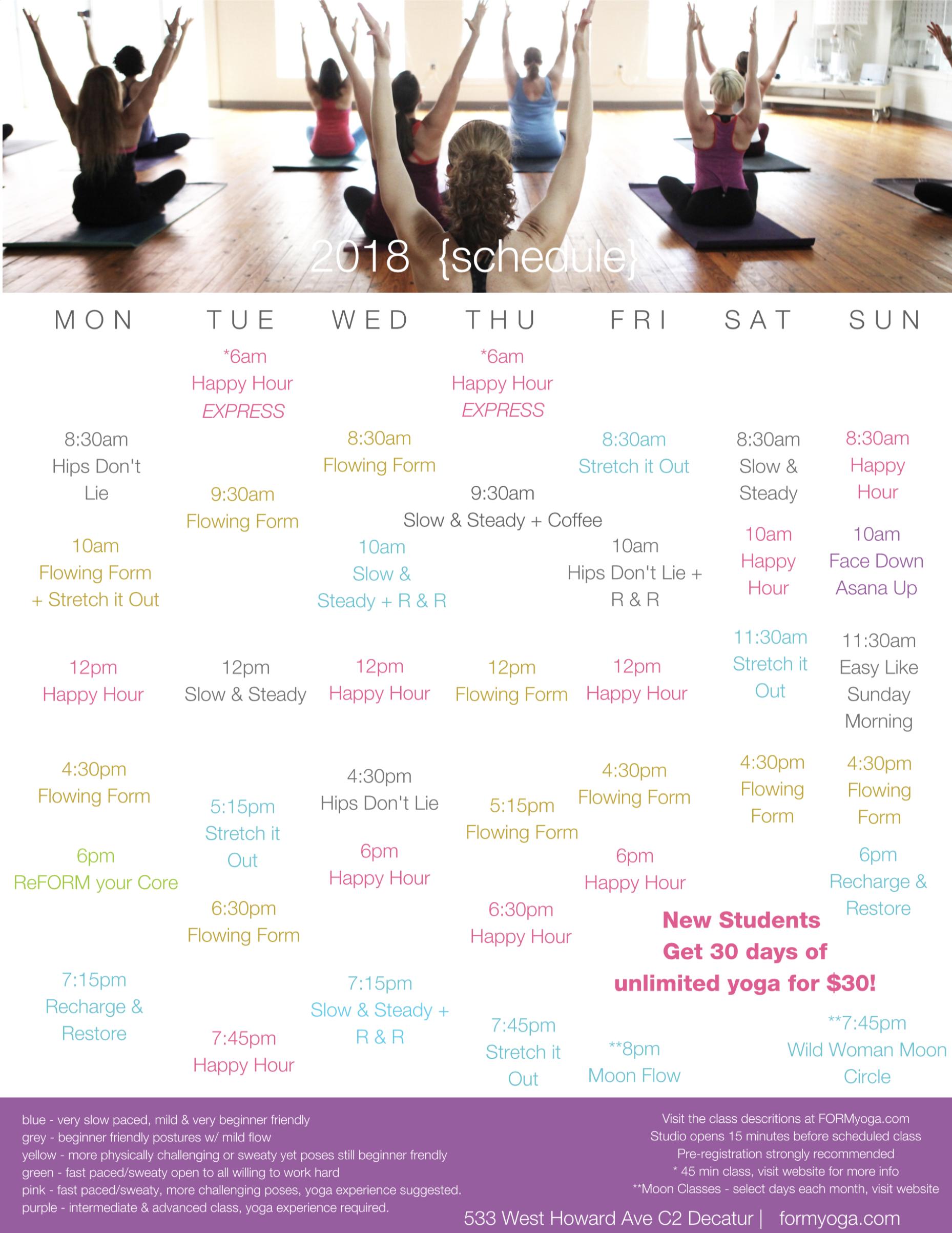 2018 FORM yoga Schedule
