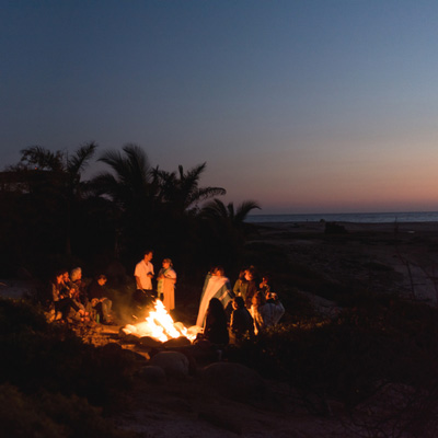 todos santos beach retreat campfire